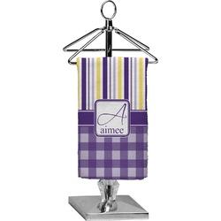 Purple Gingham & Stripe Finger Tip Towel - Full Print (Personalized)