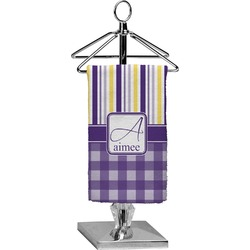 Purple Gingham & Stripe Finger Tip Towel - Full Print (Personalized)