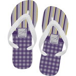 Purple Gingham & Stripe Flip Flops (Personalized)