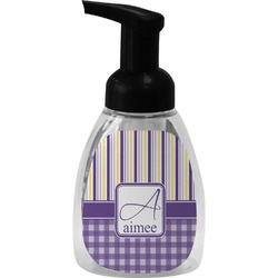 Purple Gingham & Stripe Foam Soap Dispenser (Personalized)