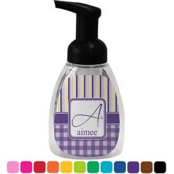 Purple Gingham & Stripe Foam Soap Dispenser (Personalized)