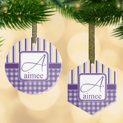 Purple Gingham & Stripe Flat Glass Ornament w/ Name and Initial