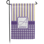 Purple Gingham & Stripe Garden Flag - Single or Double Sided (Personalized)