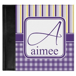 Purple Gingham & Stripe Genuine Leather Baby Memory Book (Personalized)