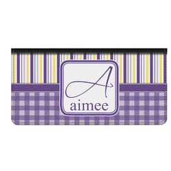 Purple Gingham & Stripe Genuine Leather Checkbook Cover (Personalized)