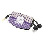 Purple Gingham & Stripe Genuine Leather Cord Wrap (Personalized)