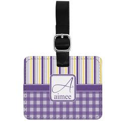 Purple Gingham & Stripe Genuine Leather Rectangular  Luggage Tag (Personalized)