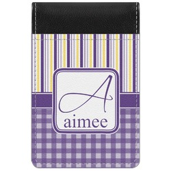 Purple Gingham & Stripe Genuine Leather Small Memo Pad (Personalized)