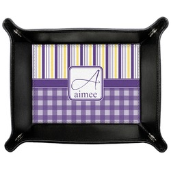 Purple Gingham & Stripe Genuine Leather Valet Tray (Personalized)