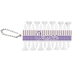 Purple Gingham & Stripe Golf Tees & Ball Markers Set (Personalized)