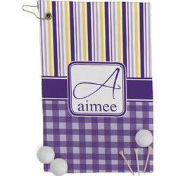 Purple Gingham & Stripe Golf Towel - Full Print (Personalized)