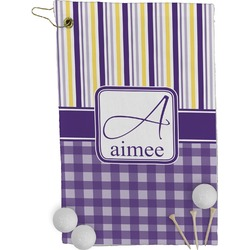 Purple Gingham & Stripe Golf Towel - Full Print (Personalized)