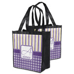 Purple Gingham & Stripe Grocery Bag (Personalized)