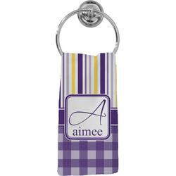 Purple Gingham & Stripe Hand Towel - Full Print (Personalized)