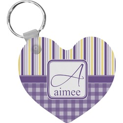 Purple Gingham & Stripe Heart Keychain (Personalized)