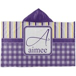 Purple Gingham & Stripe Kids Hooded Towel (Personalized)
