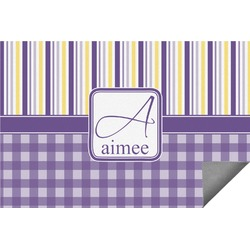 Purple Gingham & Stripe Indoor / Outdoor Rug - 6'x9' (Personalized)
