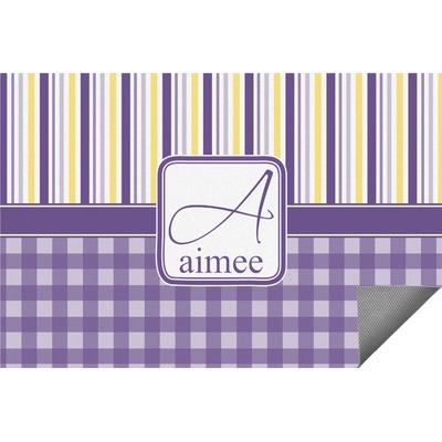 Purple Gingham & Stripe Indoor / Outdoor Rug (Personalized)