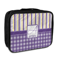 Purple Gingham & Stripe Insulated Lunch Bag (Personalized)