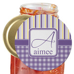 Purple Gingham & Stripe Jar Opener (Personalized)