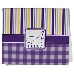 Purple Gingham & Stripe Kitchen Towel - Full Print (Personalized)
