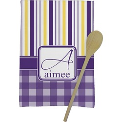 Purple Gingham & Stripe Kitchen Towel - Full Print (Personalized)