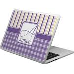 Purple Gingham & Stripe Laptop Skin - Custom Sized (Personalized)