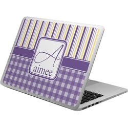 Purple Gingham & Stripe Laptop Skin - Custom Sized (Personalized)