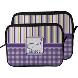 Purple Gingham & Stripe Laptop Sleeve / Case (Personalized)