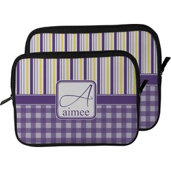 Purple Gingham & Stripe Laptop Sleeve / Case (Personalized)