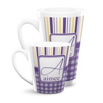 Purple Gingham & Stripe Latte Mug (Personalized)