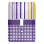 Purple Gingham & Stripe Light Switch Covers (Personalized)