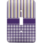 Purple Gingham & Stripe Light Switch Cover (Single Toggle) (Personalized)