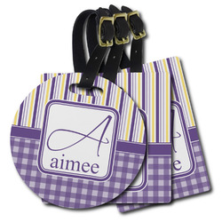 Purple Gingham & Stripe Plastic Luggage Tags (Personalized)