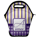 Purple Gingham & Stripe Lunch Bag w/ Name and Initial