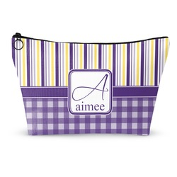 Purple Gingham & Stripe Makeup Bags (Personalized)
