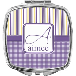 Purple Gingham & Stripe Compact Makeup Mirror (Personalized)