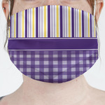 Purple Gingham & Stripe Face Mask Cover (Personalized)