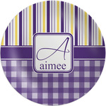 Purple Gingham & Stripe Melamine Plate (Personalized)