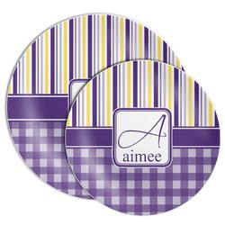 Purple Gingham & Stripe Melamine Plate (Personalized)