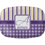 Purple Gingham & Stripe Melamine Platter (Personalized)