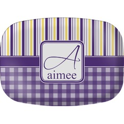 Purple Gingham & Stripe Melamine Platter (Personalized)