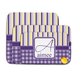 Purple Gingham & Stripe Memory Foam Bath Mat (Personalized)