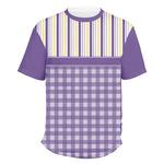 Purple Gingham & Stripe Men's Crew T-Shirt (Personalized)