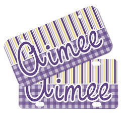 Purple Gingham & Stripe Mini/Bicycle License Plates (Personalized)