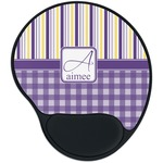 Purple Gingham & Stripe Mouse Pad with Wrist Support