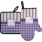 Purple Gingham & Stripe Oven Mitt & Pot Holder (Personalized)