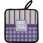 Purple Gingham & Stripe Pot Holder w/ Name and Initial