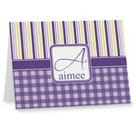 Purple Gingham & Stripe Note cards (Personalized)