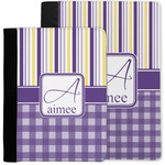 Purple Gingham & Stripe Notebook Padfolio w/ Name and Initial